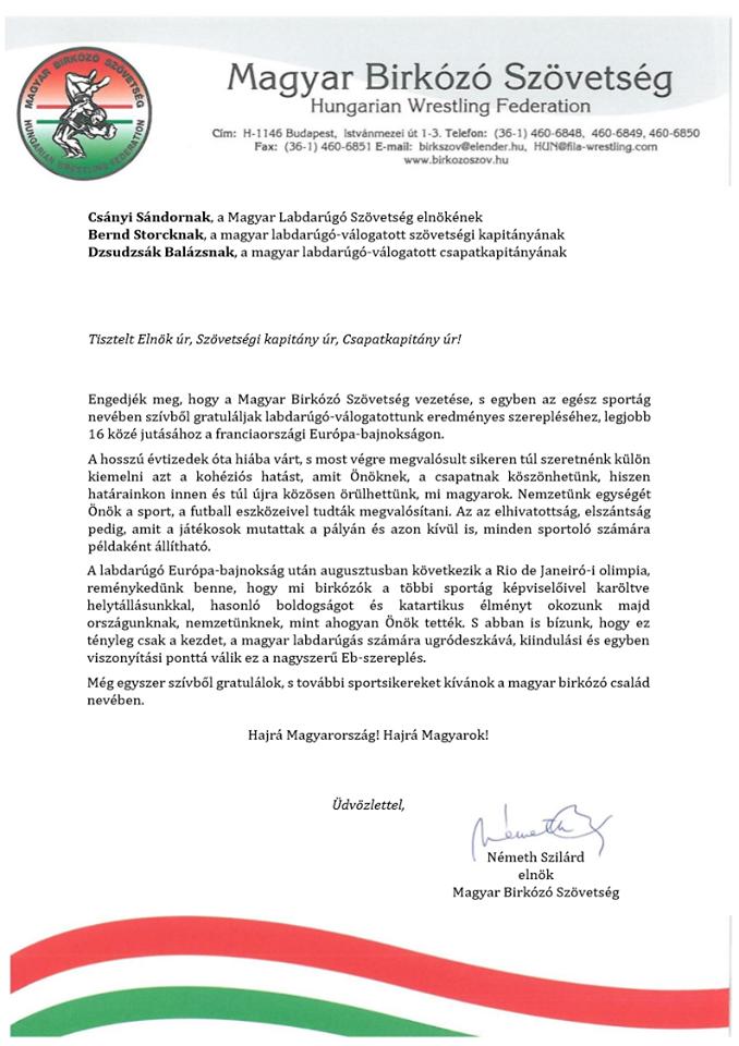 Németh Szilárd gratuláló levele az MLSZ részére