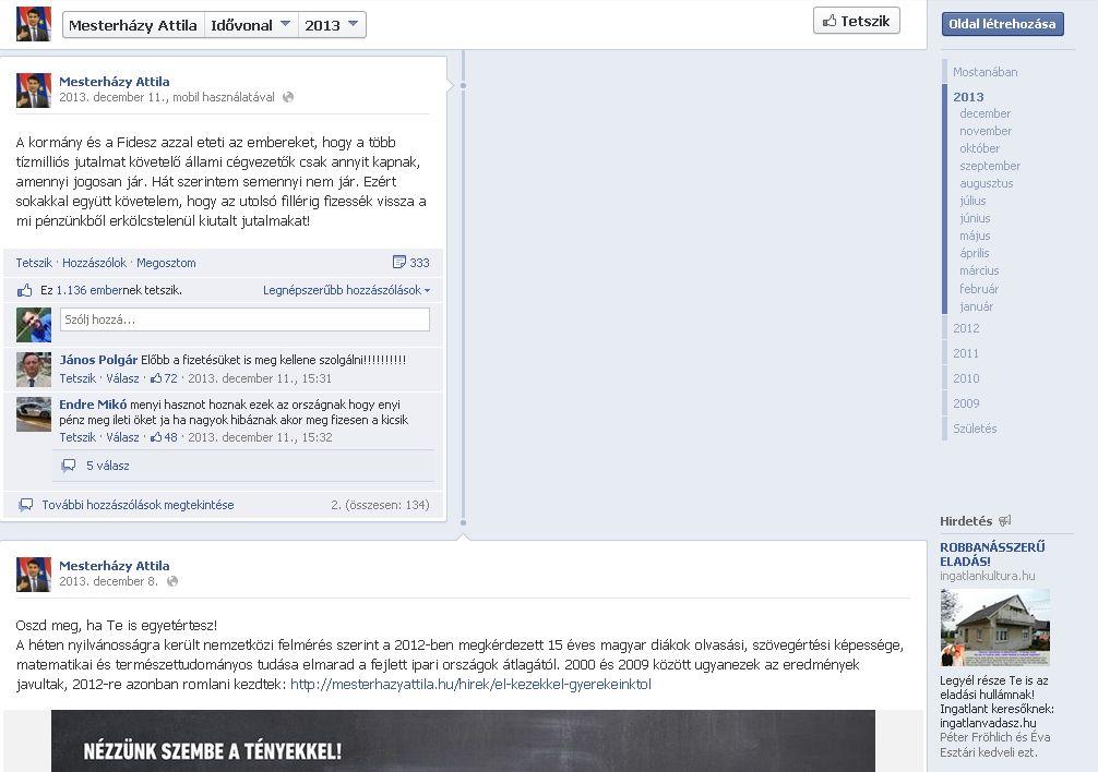 Mesterházy Facebook idővonal