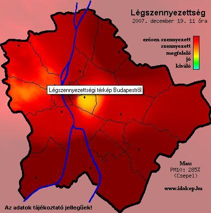 Légszennyezettség térkép, Budapest